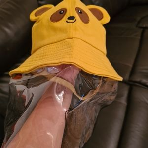 Kids Yellow Bucket Hat with Plastic Face Shield